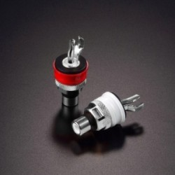 Furutech RCA Terminal Socket, Color ring: White/Red Conductor with Phosphor Bronze &Rhodium plated(2pcs/set), FP-901 (R)