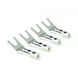 Oyaide Spade Lug w/screw clamp set (silver/platinum plating), 4pcs set SPSL