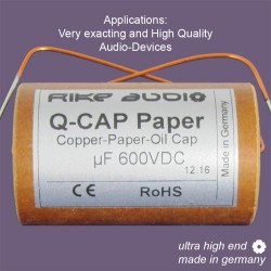 Rike Audio Copper/Paper/Oil Q-CAP2 PIO capacitor 1,00uF 600V