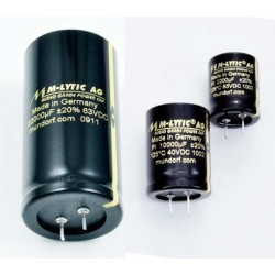 Electrolytic capacitor Mundorf MLytic AG glue on 2200 uF 63VDC 125C 2pin