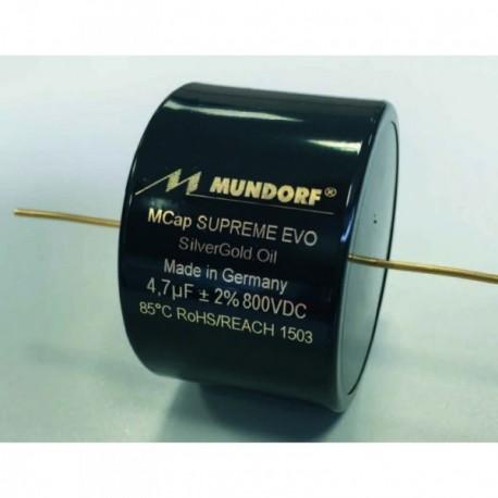 Capacitor Mundorf MCap Supreme EVO Silver/Gold/Oil 8,2 uF 800 VDC, SESGO-8,2T2.800
