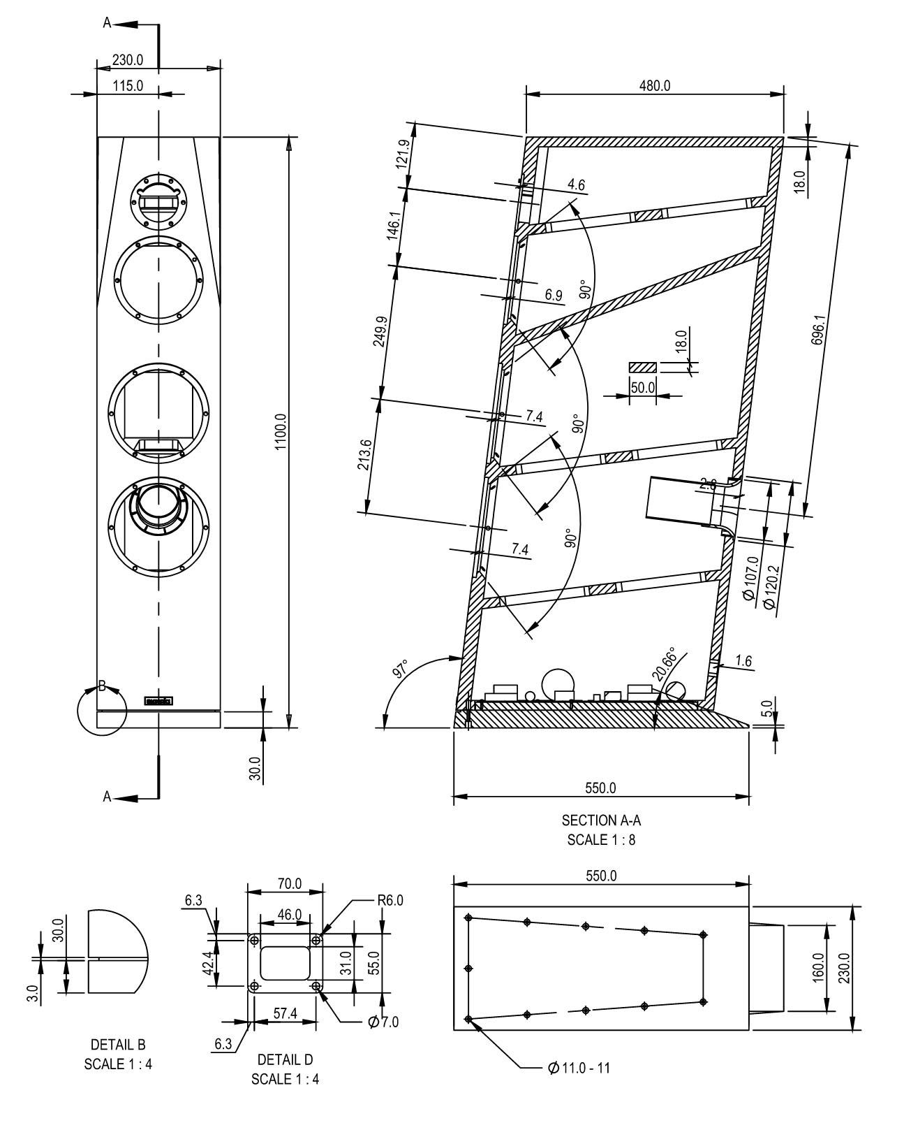 SB Acoustics Sasandu kit cabinet drawing